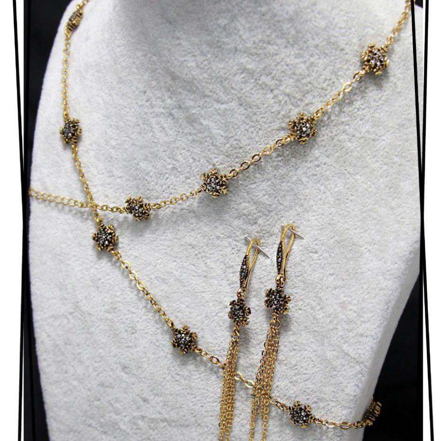 سرویس زنانه سیاه قلم زنانه ba-n157 از نمای روبرو