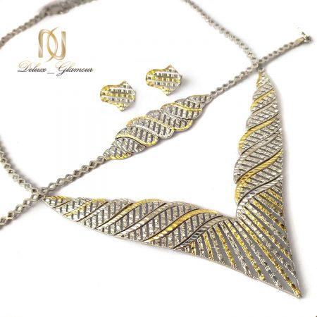 سرویس نقره تراش زنانه طرح طلا ns-n569 از نمای کنار