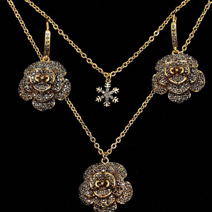 نیمست ماکازیت طرح گل زنانه ba-n145 از نمای مشکی