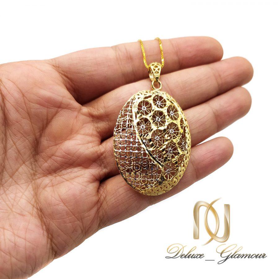 گردنبند زنانه نقره طرح طلا nw-n716 از نمای روی دست