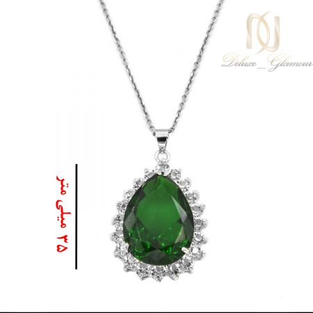 گردنبند زنانه نگین سبز جواهری nw-n703 از نمای سفید
