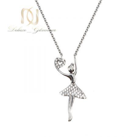 گردنبند طرح رقص باله نقره دخترانه nw-n719 از نمای سفید