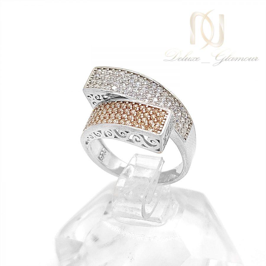 انگشتر نقره زنانه پرنگین طرح طلا rg-n530 از نمای روبرو
