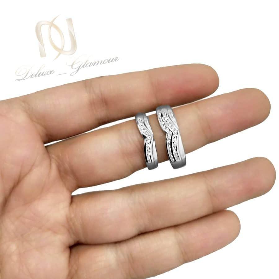 حلقه ست نقره ازدواج طرح طلا rg-n531 از نمای روی دست