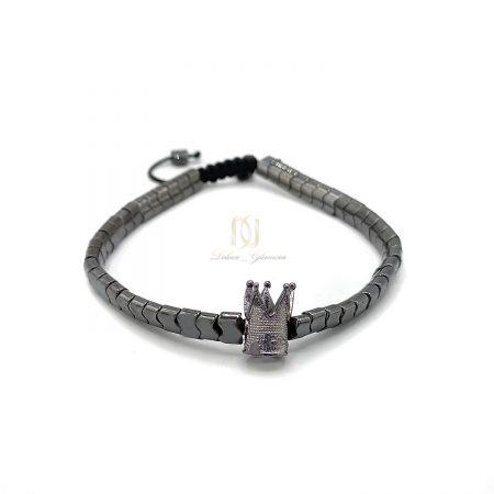 دستبند دخترانه سنگ حدید تاجدار ZA-N439