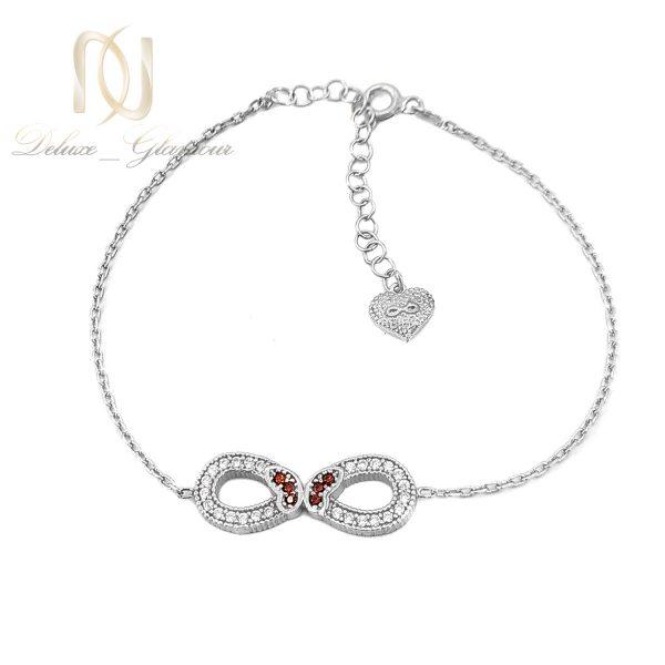 دستبند ظریف نقره دخترانه بی نهایت ds-n657 از نمای سفید