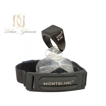 دستبند و انگشتر مونت بلانک پسرانه مشکی ns-n661 از نمای روبرو