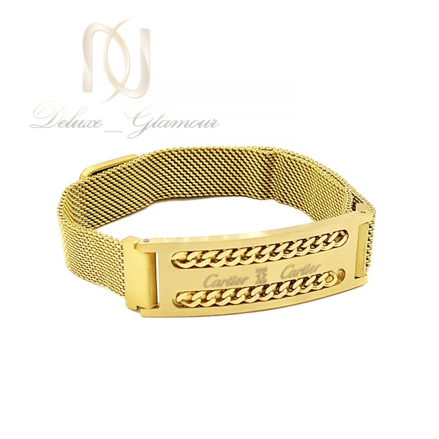 دستبند پسرانه کارتیه حصیری طلایی ds-n656 از نمای سفید
