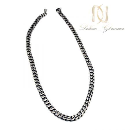 زنجیر مردانه سیاه قلم استیل nw-n741 از نمای سفید