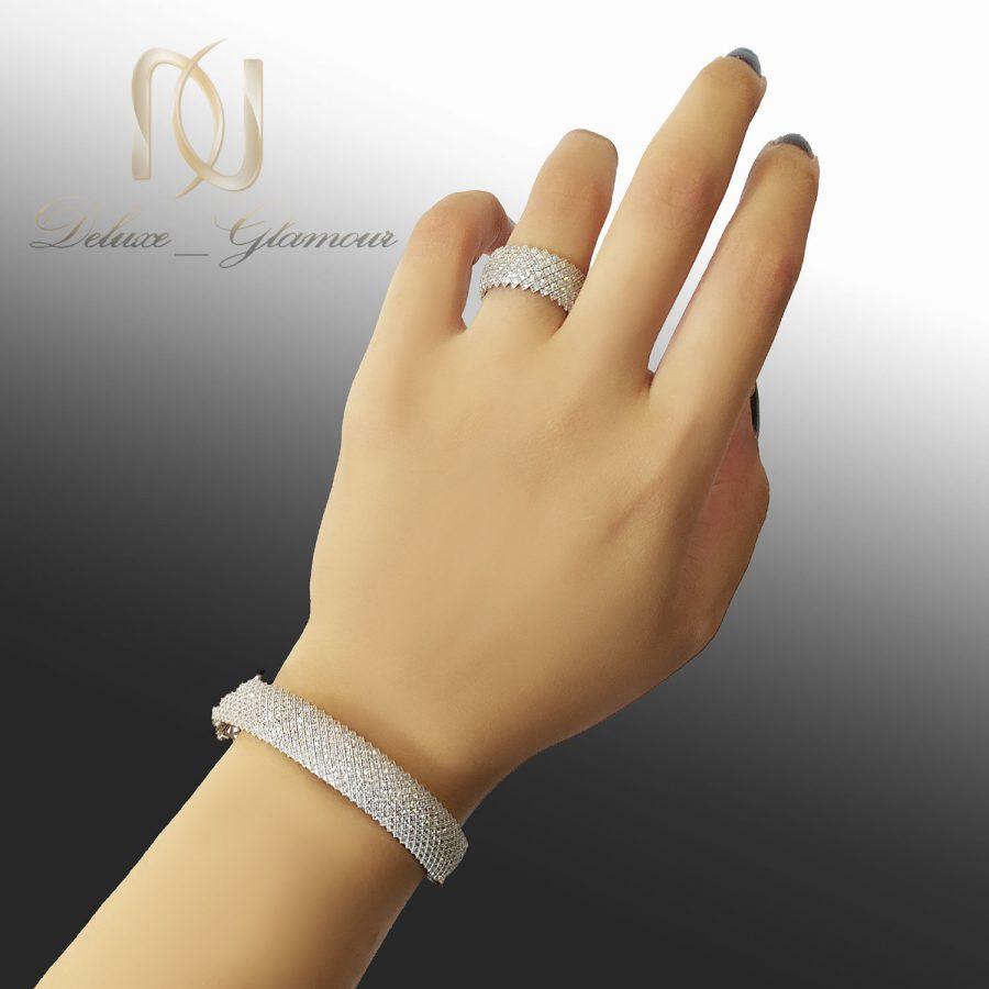 ست دستبند و انگشتر نقره پرنس ns-n667 از نمای روی دست