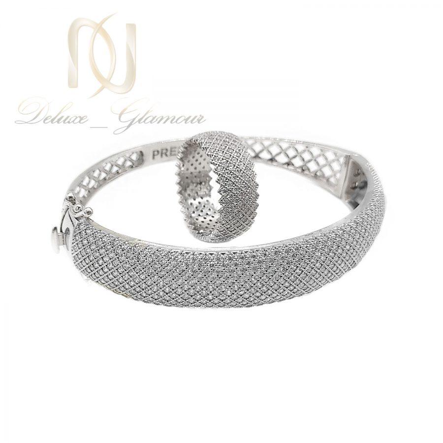 ست دستبند و انگشتر نقره پرنس ns-n667 از نمای سفید