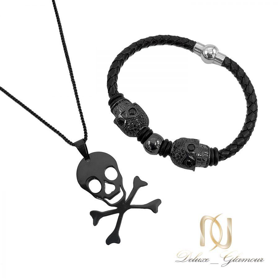 ست دستبند و گردنبند اسپرت مردانه ns-n651 از نمای سفید