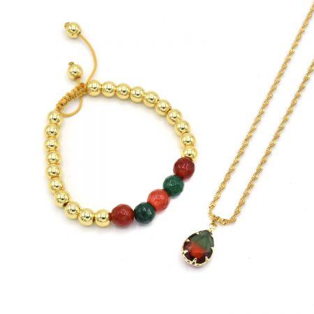 ست دستبند و گردنبند دخترانه سنگی za-n433