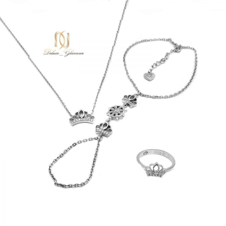 ست دستبند و گردنبند و انگشتر نقره دخترونه ns-n665