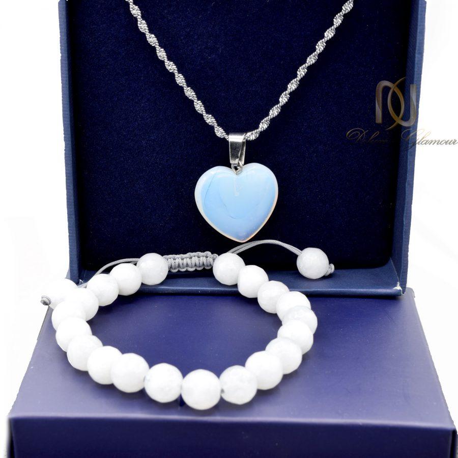 ست گردنبند و دستبند دخترانه سنگ جید za-n434 از نمای روبرو