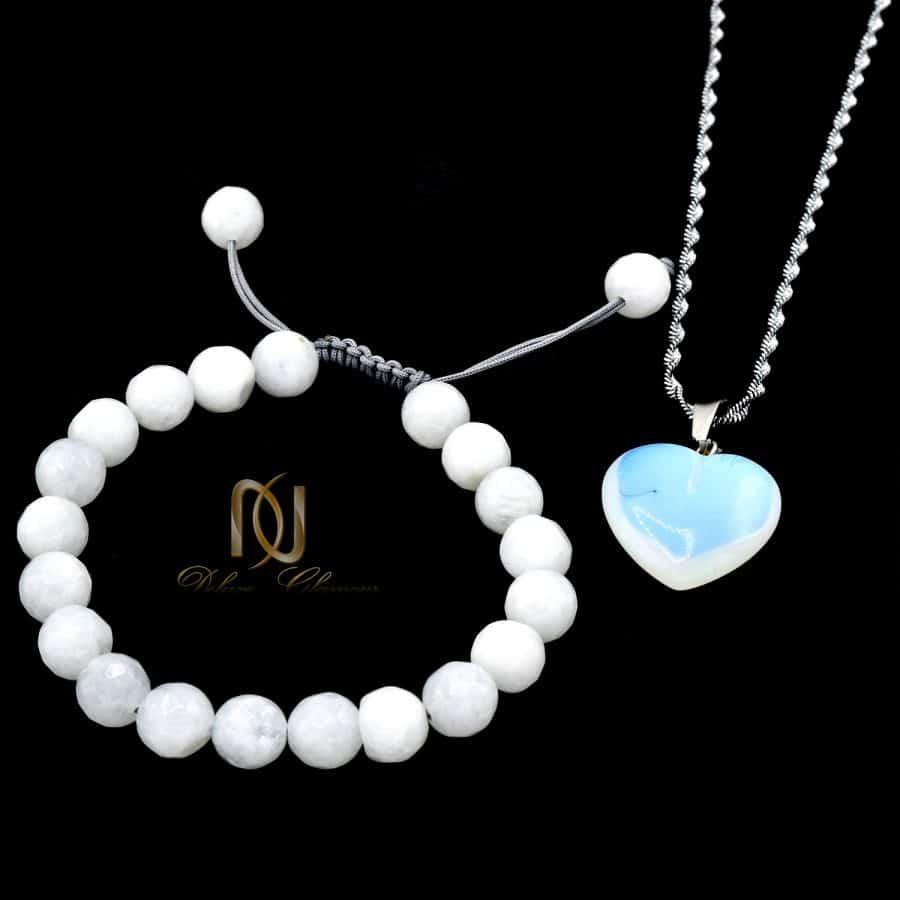 ست گردنبند و دستبند دخترانه سنگ جید za-n434 از نمای مشکی