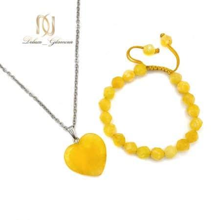 ست گردنبند و دستبند عقیق دخترانه ZA-N437