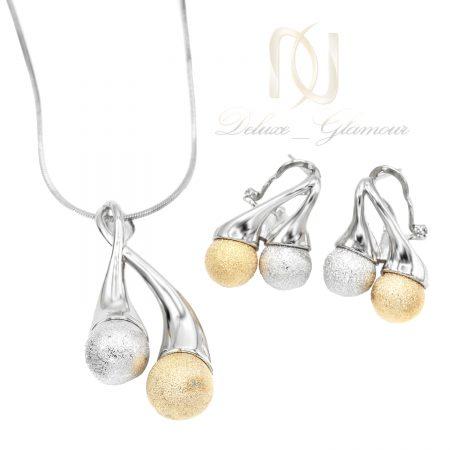 نیم ست ژوپینگ زنانه طرح طلا ns-n653 از نمای سفید