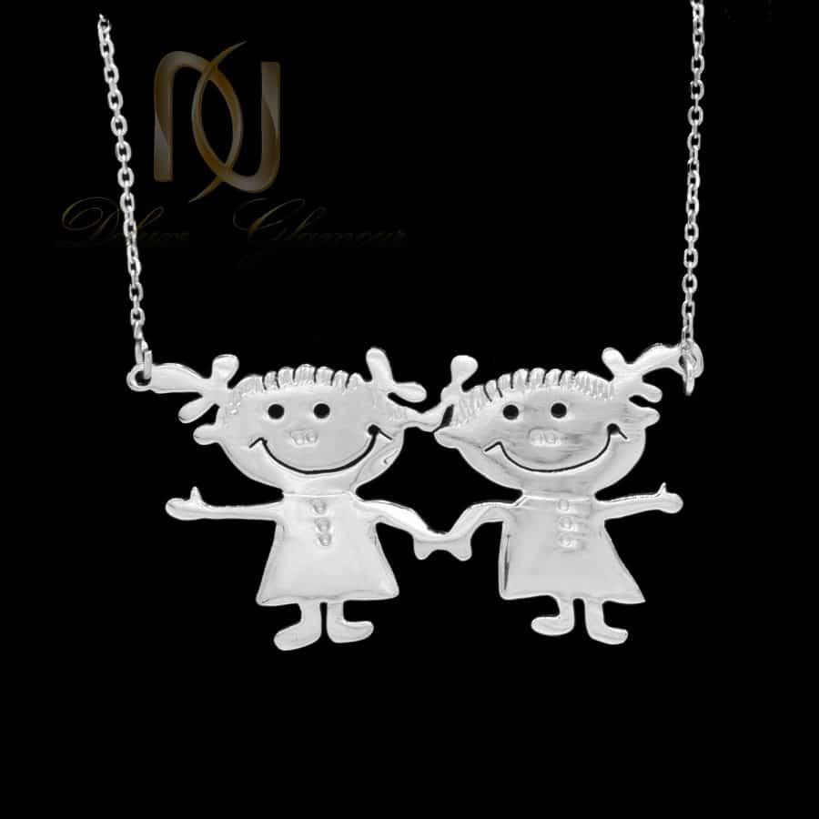 گردنبند دختر بچه دستساز نقره اصل nw-n729 از نمای مشکی