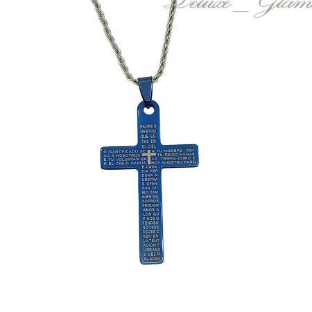 گردنبند صلیب آبی نفتی مردانه استیل NW-N743 از نمای سفید