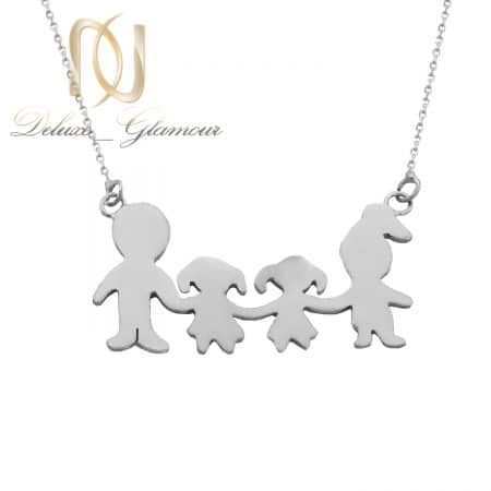 گردنبند طرح خانواده نقره دست ساز nw-n726 از نمای سفید