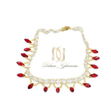 گردنبند منجوقی دست ساز دخترانه za-n435 از نمای سفید