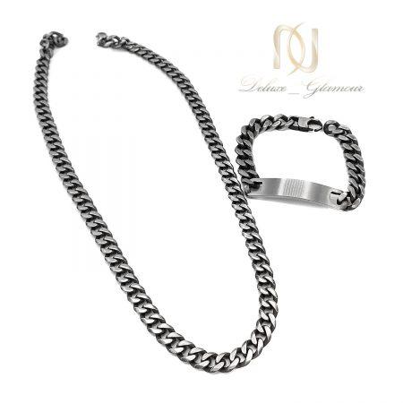 گردنبند و دستبند مردانه استیل کارتیه ns-n663 از نمای سفید