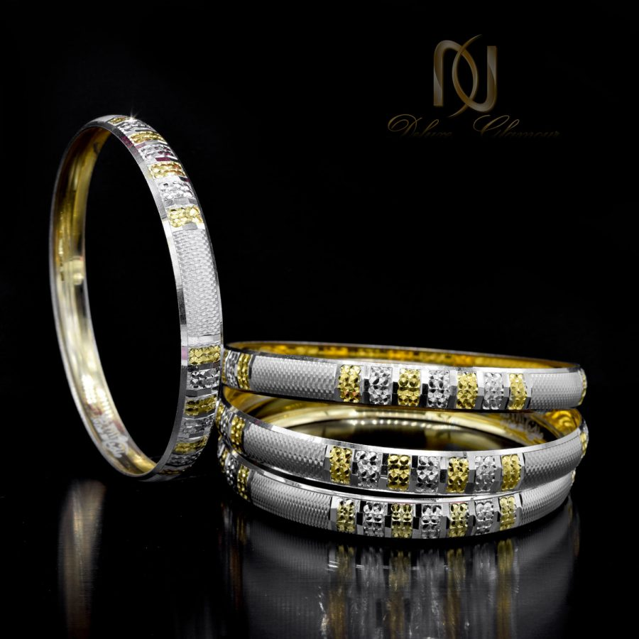 النگو زنانه نقره طرح طلا جدید al-n129 از نمای مشکی