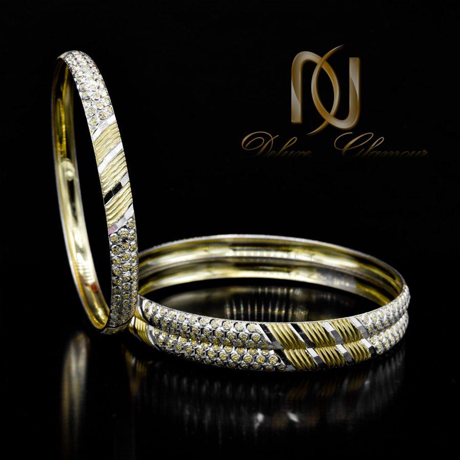 النگو زنانه نقره طرح طلا دو رنگ al-n136 از نمای مشکی