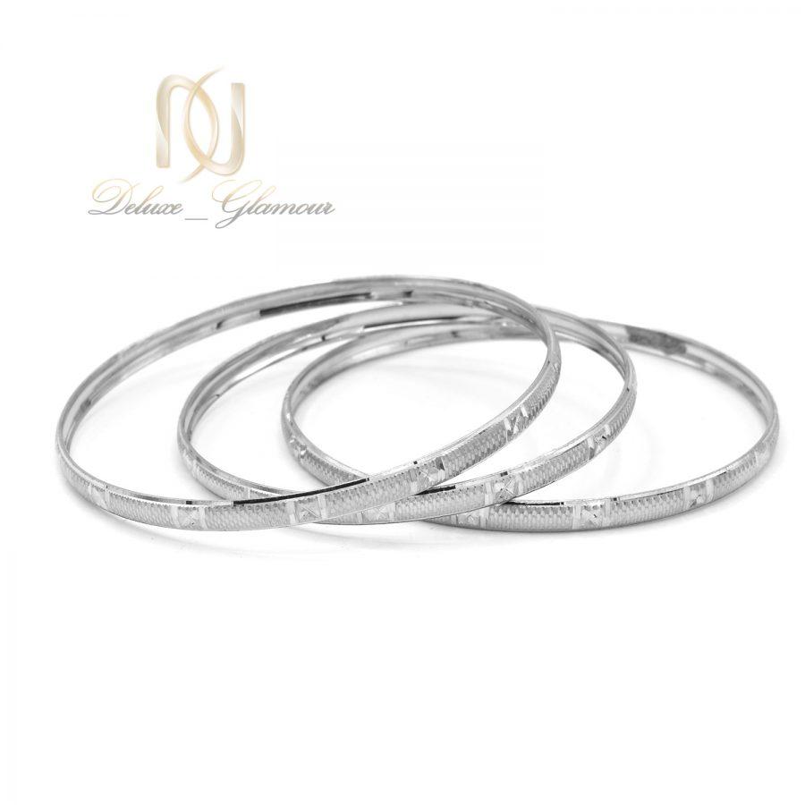 النگو نقره باریک طرح طلا سفید al-n135 از نمای سفید