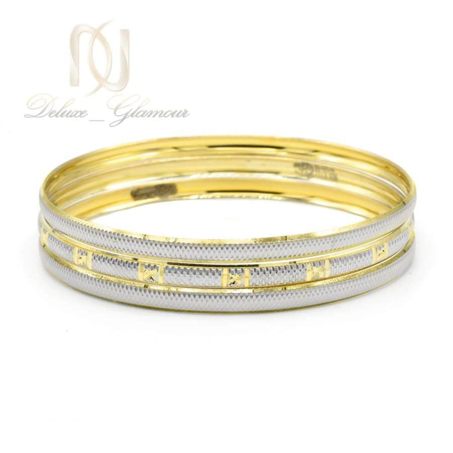النگو نقره ظریف سه تایی طرح طلا al-n134 از نمای سفید