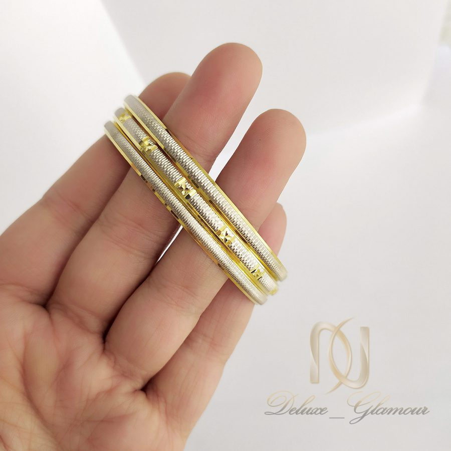 النگو نقره ظریف سه تایی طرح طلا al-n134 از نمای بالا