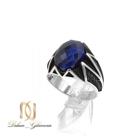 انگشتر نقره مردانه نگین آبی rg-n532 از نمای روبرو