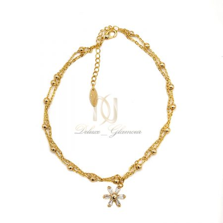 خلخال دوردیفه استیل طلایی pa-n154 از نمای سفید