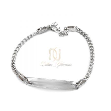 دستبند نقره زنانه طرح طلا سفید ds-n669