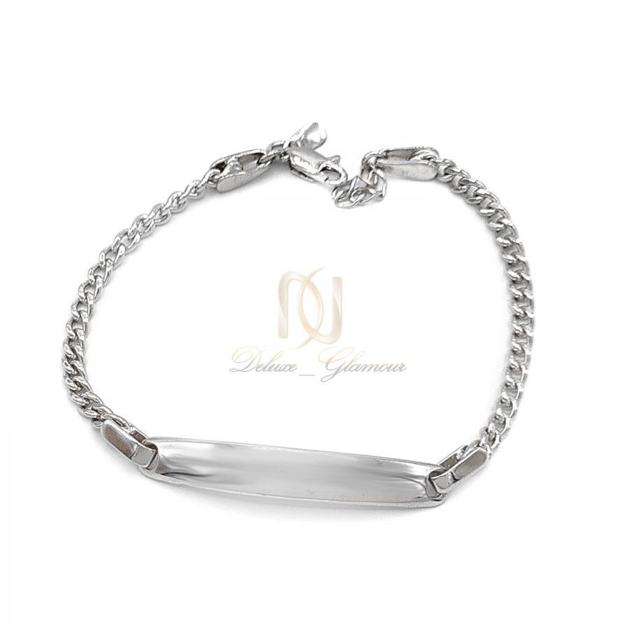 دستبند نقره زنانه طرح طلا سفید ds-n669 از نمای سفید