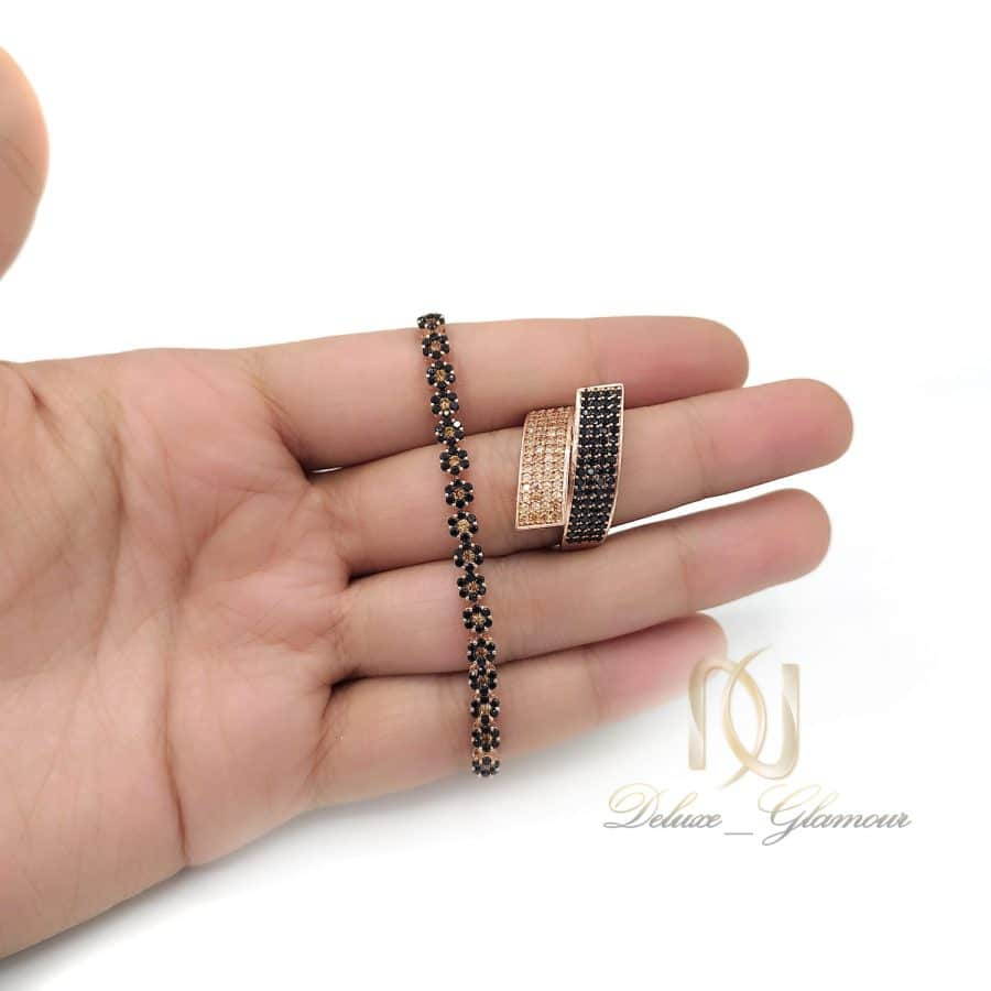 ست دستبند و انگشتر نقره زنانه ns-n675 از نمای بالا