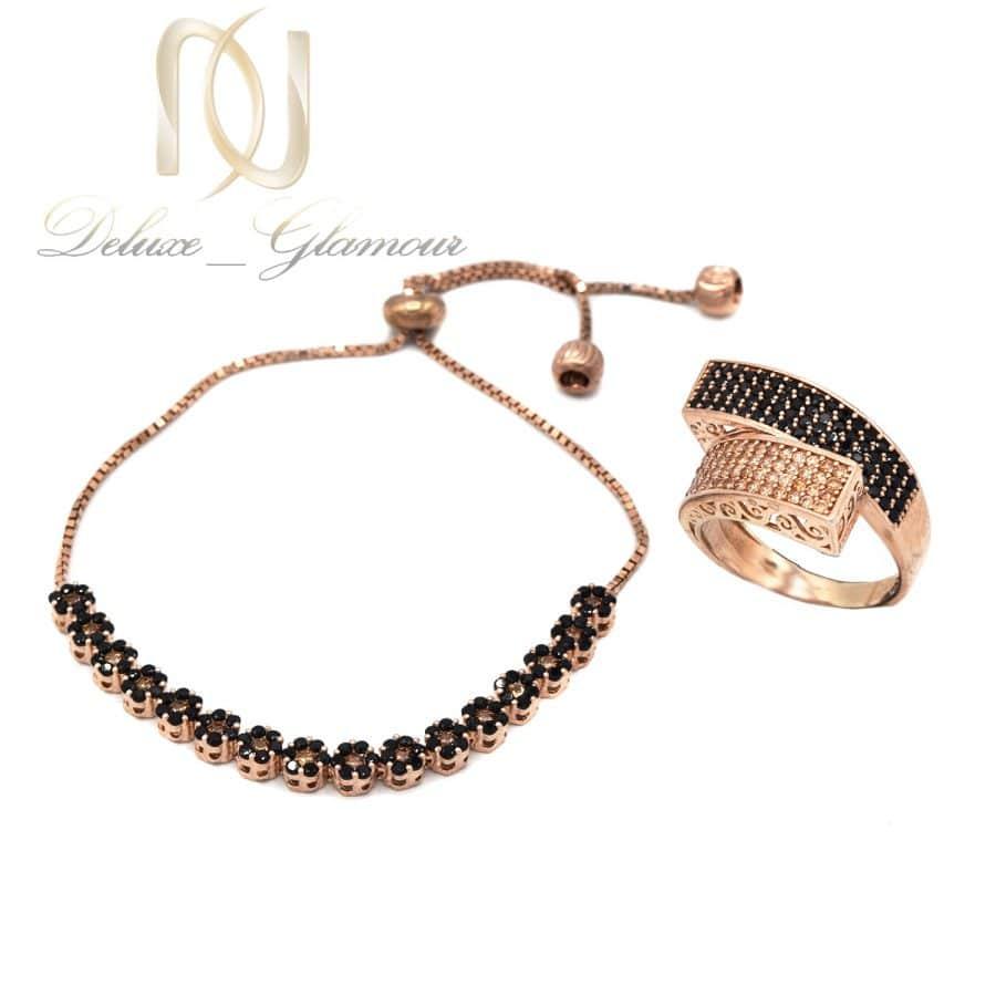 ست دستبند و انگشتر نقره زنانه ns-n675 از نمای سفید