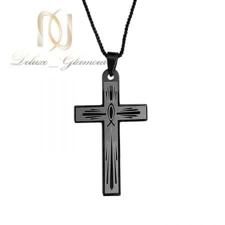 گردنبند پسرانه صلیب استیل مشکی nw-n751 از نمای سفید
