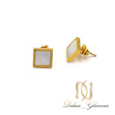 گوشواره میخی استیل طلایی er-n227 از نمای سفید