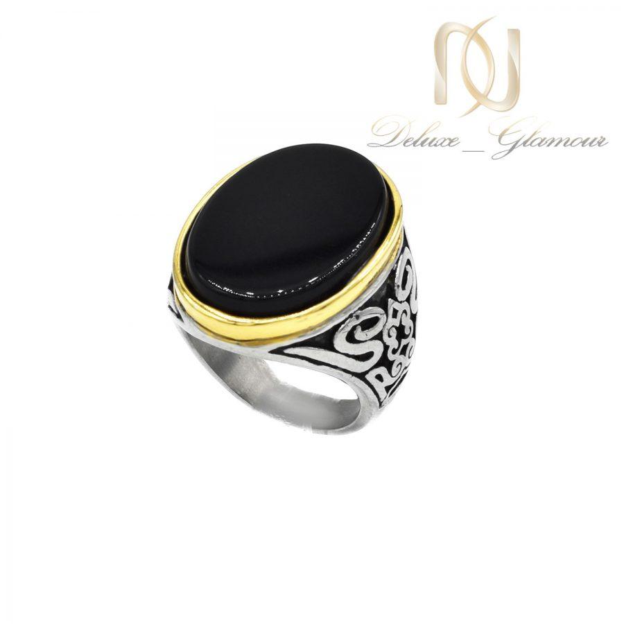 انگشتر مردانه نقره 925 نگین مشکی rg-n546 از نمای سفید
