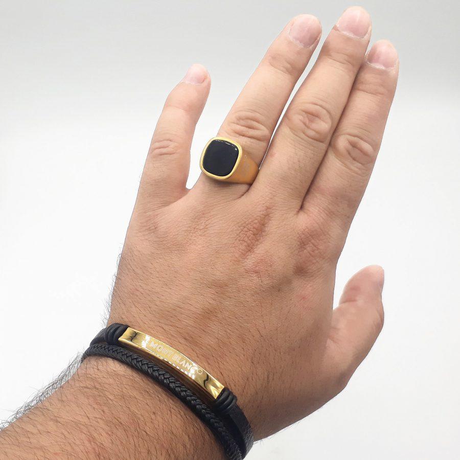 ست دستبند و انگشتر مردانه اسپرت ns-n689 از نمای روی دست