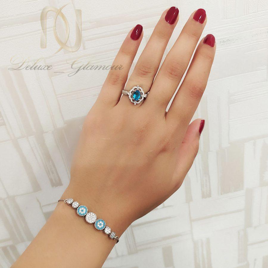 ست دستبند و انگشتر نقره نگین دار ns-n685 از نمای روی دست