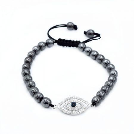 دستبند سنگ حدید دخترانه طرح چشم za-n452