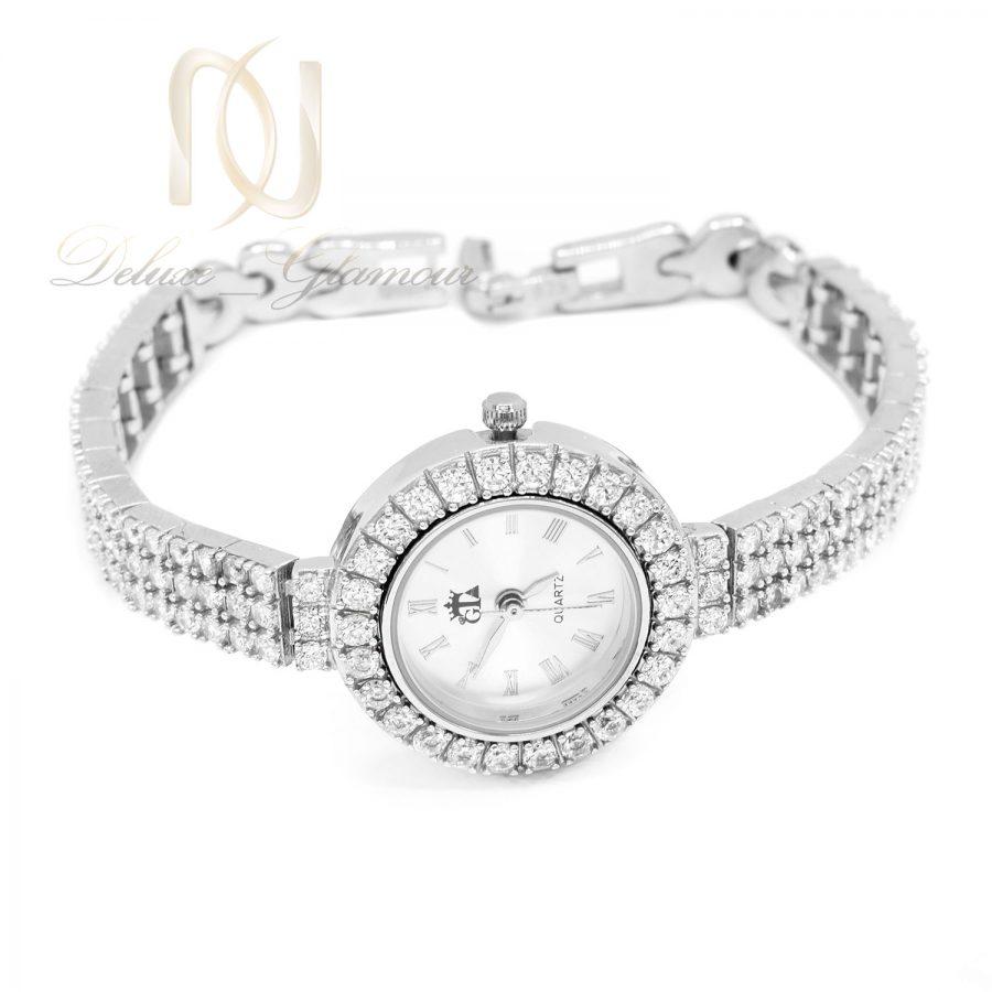 ساعت نقره جواهری زنانه نگین دار WH-N205 از نمای سفید