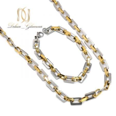 ست دستبند و گردنبند مردانه زنجیری ns-n709