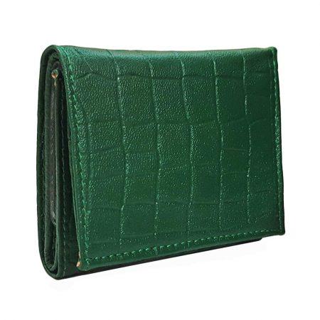 کیف پول جیبی چرم طبیعی سبز رنگ LE-N107