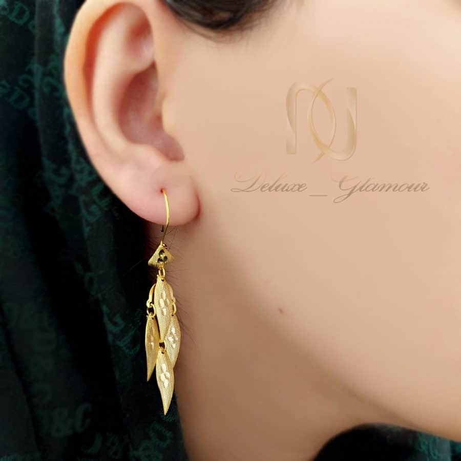 گوشواره نقره آویزی طرح طلا بلند er-n237