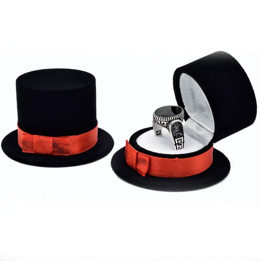 جا انگشتری طرح کلاه مشکی bx-n103 از نمای سفید