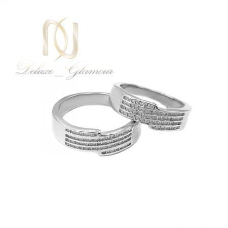 حلقه ست نقره ازدواج طرح طلا سفید rg-n571
